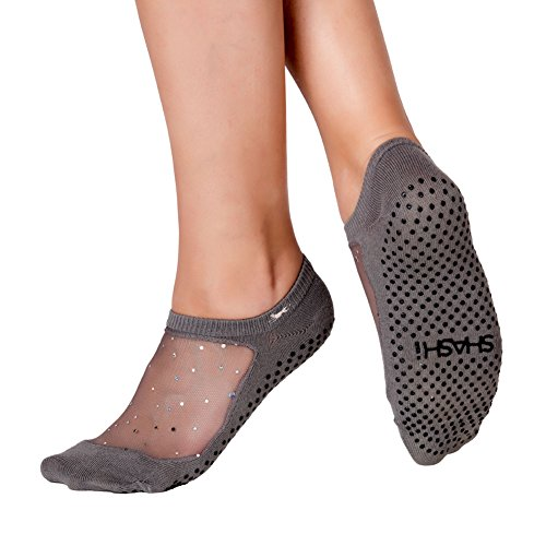 Star Women's Glitter Non Slip Grip Socks Sparkle Mesh Top Panel Pilates Barre Yoga