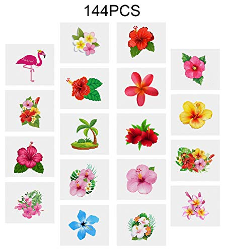 - Moon Boat Luau Hibiscus Temporary Tattoos -Hawaiian/Tropical/Flamingo/Summer Pool Party Decorations Supplies Favors 144PCS