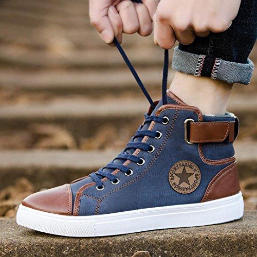Wensltd Il Nuovo Stile Uomo Donna Scarpe Casual Scarpe Stringate Allacciate Scarpe Casual Alta Scarpe Di Tela Blu