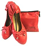 Shoes 18 Women's Foldable Portable Travel Ballet Flat Shoes w/Matching Carrying Case 1180 Red 11