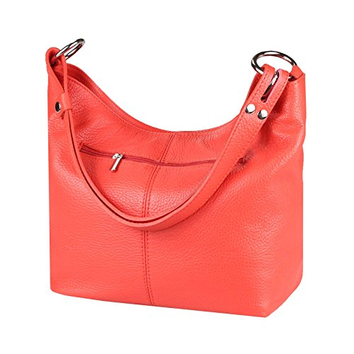Vera Pelle Metallizzato Donna Borsa Shopper Hobo-Bags Borsa A Tracolla Borsetta Con Manici Argento Rosso Chiaro