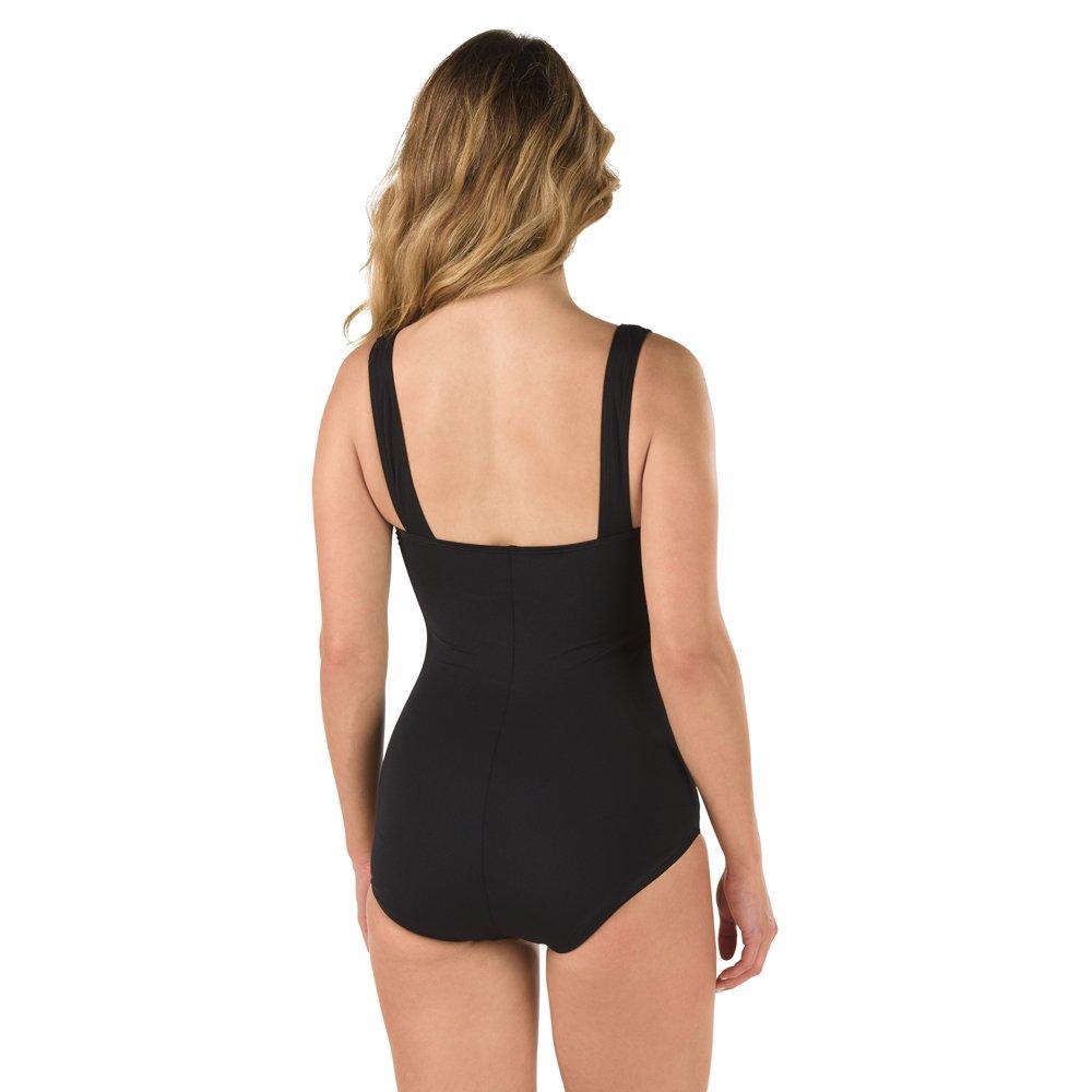 Speedo Women's Endurance+ Shirred Tank One Piece Swimsuit, Black, Size 8 by Speedo (Image #2)