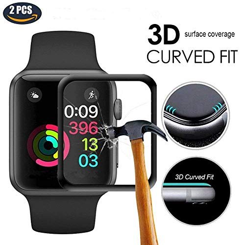 Screen Protector for Apple Watch Series 4 44mm, Full Coverage Protective Tempered Glass HD Film Cover for iWatch 2018 with 3D Curved Edge Upgraded Version (44mm 2pcs)