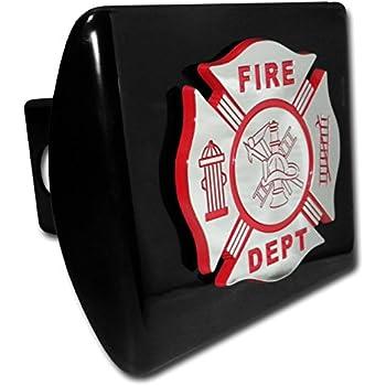 Elektroplate Firefight Red Emblem Black All Metal Hitch Cover