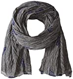 Armani Jeans Men's Cotton And Viscose Gauze Scarf With Eagle Logo, gray, One Size