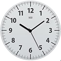 hito Classic Modern Silent Non-ticking Wall Clock w/ Transparent Plastic Frame and Cover- 11 inches (White)