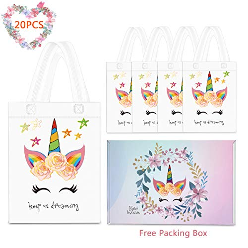 20 Pack Unicorn Party Favor Gift Bags with Dreamlike Unicorn Design - Reusable Gift Tote Bags, Goodie Small Gift Toy Treat Favor Bags for Kids Unicorn Themed Baby Shower Birthday Party (Art Outdoor Treat)