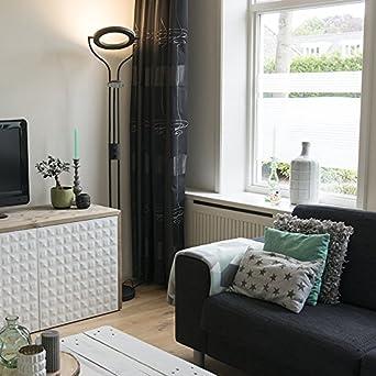 QAZQA Design/Modern / Deckenfluter Divo mit Leseleuchte schwarz  Dimmer/Dimmbar / Innenbeleuchtung/Wohnzimmer Metall Rund/Länglich /  inklusive LED ...