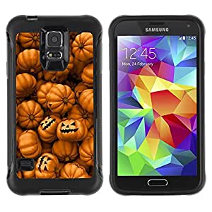 All-Round Hybrid Rubber Case Hard Cover Protective Accessory Compatible with SAMSUNG GALAXY S5 - orange pumpkin evil holiday