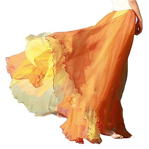 Plisse Jupe Taille Casual Jupe Jupe Orange Jupe lastique Femmes Longue De Plage Bohmienne Fwx0Rq