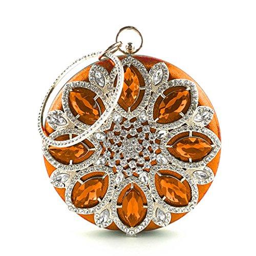 Handbag Bag Round Mini Orange Evening Wedding Rhinestone Party Purse Women JAGENIE for Bridal Champagne 1ag0wSqx