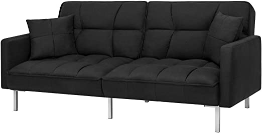 Amazon.com: Futon Linen Split Back Couch Tufted with 2 ...