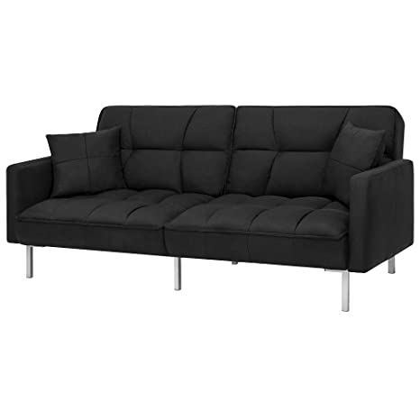 Fine Amazon Com Futon Linen Split Back Couch Tufted With 2 Machost Co Dining Chair Design Ideas Machostcouk