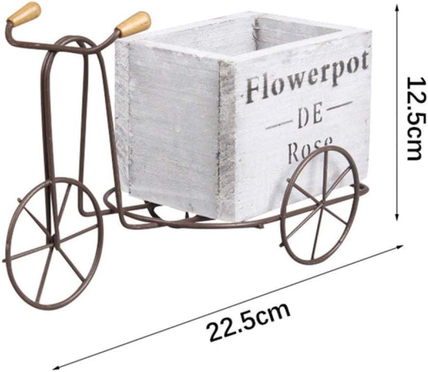 Lku Modelo de Triciclo de Madera Maceta de Hierro Forjado Bicicleta Soporte de Flores Estante de Almacenamiento Interior hogar, Blanco