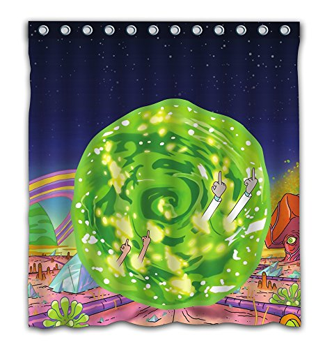 Fatbon Funny Fuck Time Travel Shower Curtain Waterproof Polyester Fabric Art Deco for Bedroom 12 Holes 66X72 Inches