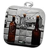 3dRose Susans Zoo Crew Scenery - Bottles Old Fashioned Against Wall - 8x8 Potholder (PHL_294100_1)