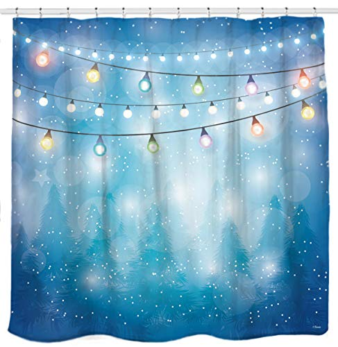 Serene Blue Forest and Colorful Lights Trees Christmas Theme Shower Curtain Bathroom Home Office Holiday Wall Decoration as Tapestry and Photo Booth Backdrop -