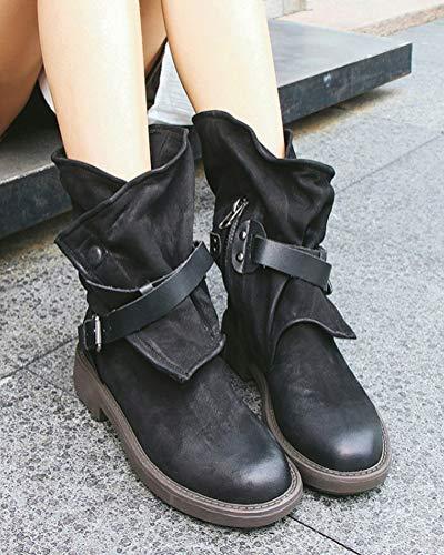 Boots Moda Inverno Casual Nero Retrò Donna Autunno Pelle Ankle Minetom Stivali Da Tacchi Scarpe Stivaletti Bassi 6SUUzq