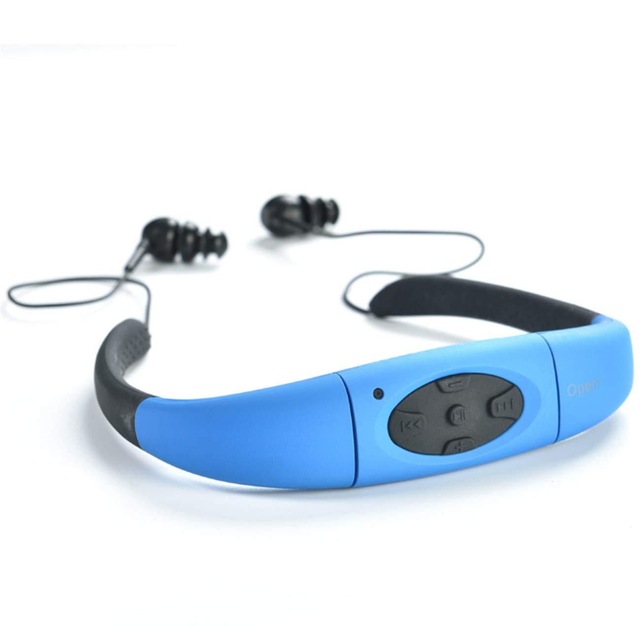 ASET Cabeza-montado Deportes MP3 Impermeable natación MP3 Reproductor de música,Blue