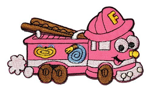 (Cute Cartoon Pink Fire Engine Truck Retro Classic DIY Applique Embroidered Sew Iron on Patch FE-008)