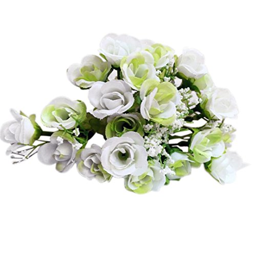 Pink Bouquet Cross (2 Bouquet 21Heads Artificial Rose Silk Flower, Rose Silk Fake Flower Leaf for Home Wedding Decor Bridal Bouquet (White))