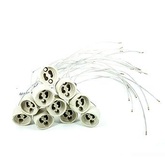 Wentronic - Lote de 10 casquillos para bombillas halógenas led (GU10, cerámica, 230