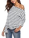 Women One Shoulder 3/4 Sleeve Casual T-Shirt Striped Tops Off Shoulder Blue M