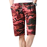 NEARTIME Men Short Pants, Hot New Quick Dry Beach Surfing Running Swimming Slim Fit Chino Short Pants for Men (3XL, Red)