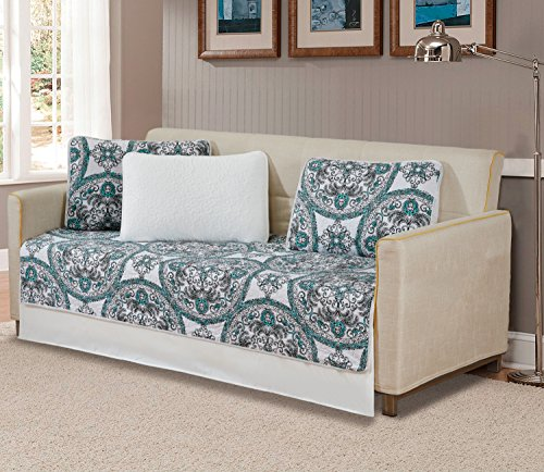 MK Home 5 Pc Daybed Bedspread Quilted Print Modern Floral White Aqua Green Black New # Madrid