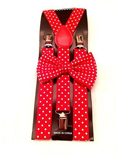 4everStore Unisex Bow Tie & Suspender Sets, Red Polka -