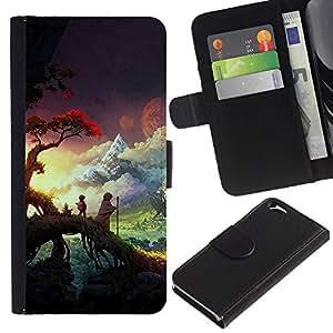 Sunset Forest Nubes- la tarjeta de Crédito Slots PU Funda de cuero Monedero caso cubierta de piel Para Apple (4.7 inches!!!) iPhone 6 / 6S