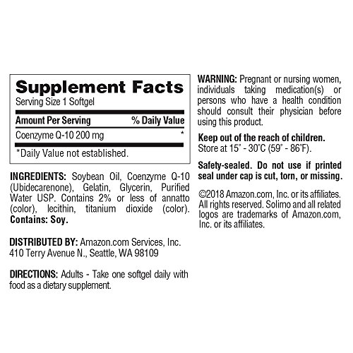 Amazon Brand - Solimo Coenzyme Q-10 200mg, 150 Softgels, Five Month Supply by Solimo (Image #1)