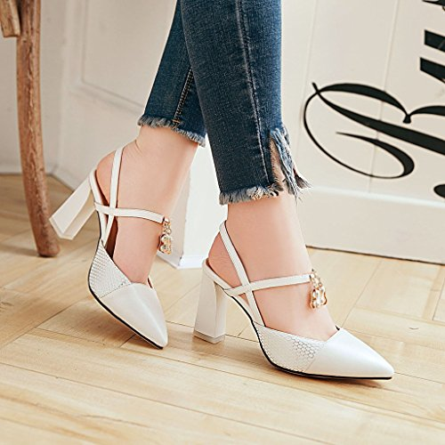 shoes versatile sandals and Baotou high female color spell heeled Tip white thick with 4qSxCF
