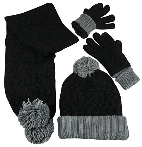 N'Ice Caps Women's 2 Ply Fully Lined Cable Knit Hat Scarf Glove 3PC Winter Set (Black/Grey, One Size) - Fully Lined Winter Hat