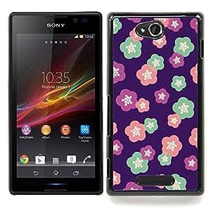 For Sony Xperia C Case , Patrón floral del trullo Flores de Primavera - Diseño Patrón Teléfono Caso Cubierta Case Bumper Duro Protección Case Cover Funda