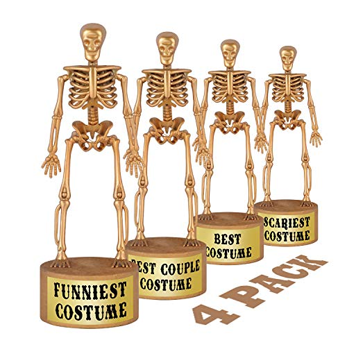 Halloween Party Supplies - Golden Skeleton Trophies for Kids Costume Contest Awards Prizes - 4 Pack