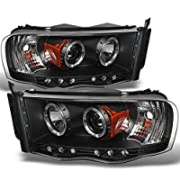 Dodge Ram Pickup Truck Black Bezel Dual Halo Ring LED Projector Replacement Headlights Left + Right