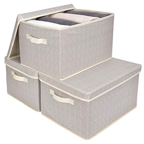GRANNY SAYS Closet Organizer Bins with Lid, Storage Basket for Shelves, Closet Bins with Handle, Home and Office Box Organizer, Beige, Jumbo, 3-Pack