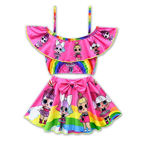 (Rohero Toddler Baby Girls Swimsuits Two Piece Doll Print Ruffle Swimwear Bathing Suit for Doll Surprised (120cm/ 5-6Y, Rainbow Rose 1))