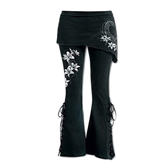 STRIR Pantalón Acampanados Jeans Gótico con Estampado de Flor gótica para Mujer Pantalones con Corte de Bota