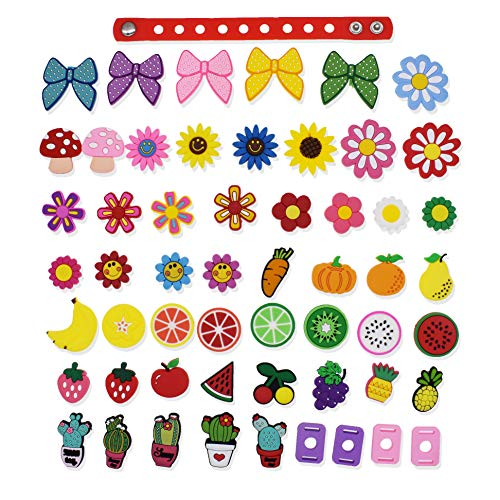 XHAOYEAHX 51Pcs Flowers Fruits Bowknot Vegetables Cacti Shoes Charms Fits for Croc Shoes & Wristband Bracelet + 4Pcs Shoe Lace Adapter + 1Pcs 7.08in Silicone Bracelet Bands