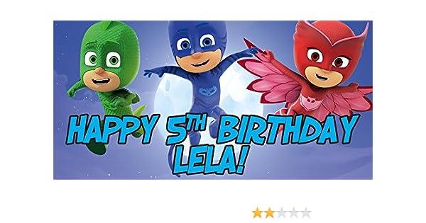 Amazon.com: PJ Mask Personalized Birthday Banner/Backdrop: Kitchen & Dining