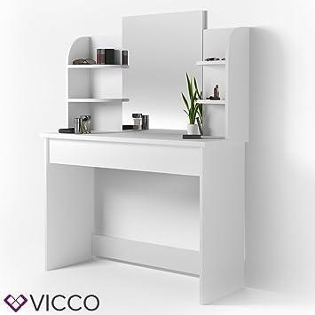 VICCO Schminktisch CHARLOTTE 142 X 108 Cm Weiß   Frisiertisch Kommode  Spiegel +++ Schminkkommode