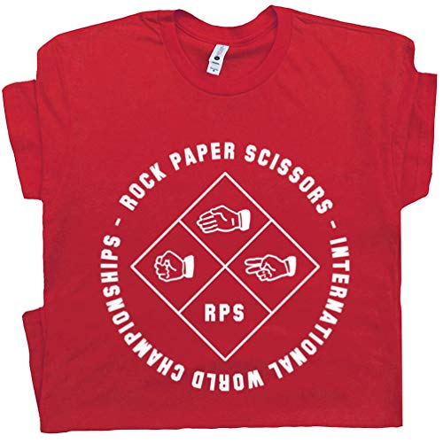 XXL - Rocks Paper Scissors T Shirt Tournament Tee Hacky Sack Vintage Deadhead Hippie 80s 90s Thumb War Champion Red