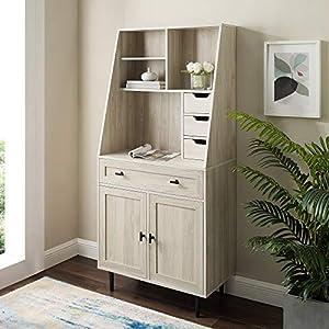 Walker Edison Secretary Hutch Wood Desk with Keyboard Drawer Bookshelf Home Office Storage Cabinet, 64 Inch, Birch