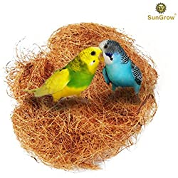 SunGrow Coconut Fiber - Comfortable Bedding for Small Birds and Animals: 100% Natural Nest Material: Great for Nest building and Hideouts: Dust Free