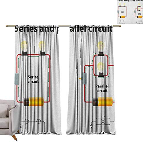 Adjustable Tie Up Shade Rod Pocket Curtain Educational,Series and Parallel Circuits Voltage Electric Science Equipment Print, Red Marigold Black W84 x L108 Blackout Draperies for Bedroom Kitchen