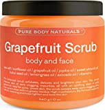 Pure Body Naturals Grapefruit Scrub for Body & Face, 12 Oz