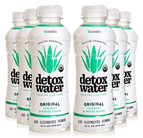 Detoxwater Prebiotic Aloe Water  Original Lychee amp White Grape 16 Fluid Ounces Pack of 6