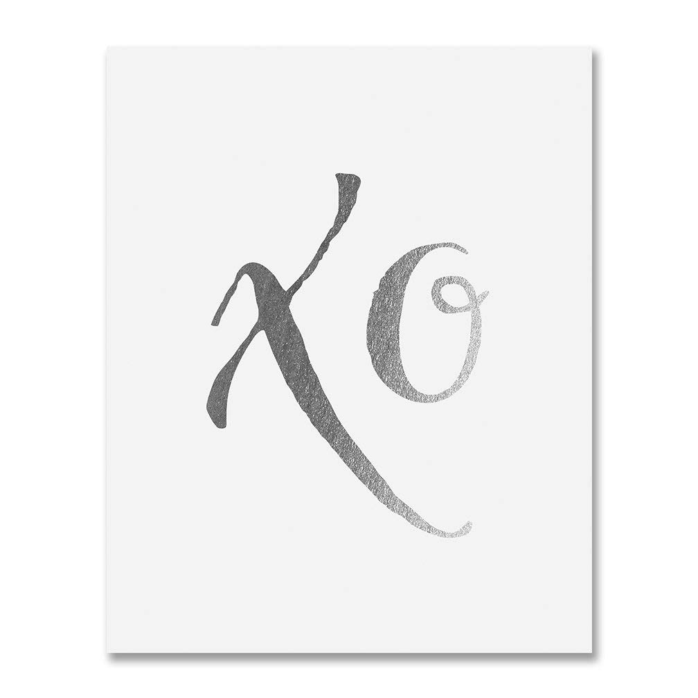 XO Silver Foil Art Hugs and Kisses Modern Calligraphy Poster Love Newly Engaged Gift Dorm Decor Office Print Nursery Wall Art 5 inches x 7 inches Art A40
